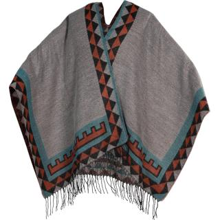 PONCHO INDIAN GREY